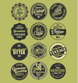 premium quality retro badges collection green set vector image