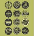 premium quality retro badges collection green set vector image