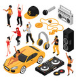 rap music isometric set vector image vector image