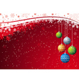 red background with christmas ball vector image vector image