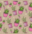seamless pattern with house plants in pink pots vector image vector image