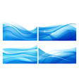 set abstract blue wavy background water vector image