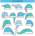 Set of 12 blue doodle hats Santa Claus vector image vector image