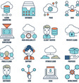 Set of flat linear cloud computing icons - part 1 vector image vector image
