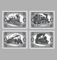 set of stamps templates with retro trains vector image vector image