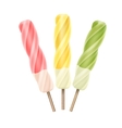 Set of Yellow Pink Green Spiral Ice Cream on Stick vector image vector image