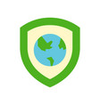 shield and globe or planet earth icon flat design vector image