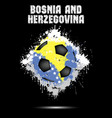 soccer ball in the color of bosnia and herzegovina vector image