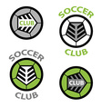 soccer club emblem ball shoelace vector image vector image