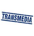 square grunge blue transmedia stamp vector image vector image