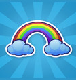 sticker rainbow with two clouds vector image