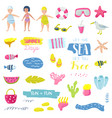summer beach vacation childish elements set vector image vector image