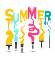 Summer title with colorful brushes design