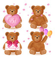 teddy bear set romantic cute cartoon bears vector image vector image
