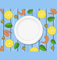 template for your design empty plate on wood blue vector image vector image