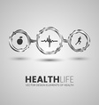 Three health symbols in the chrome circles vector image vector image