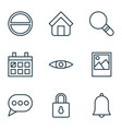web icons set with eyes home almanac and other vector image