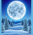 winter forest with moon vector image