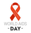 world aids day isolated icon red ribbon charity vector image vector image