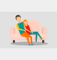 young people at sofa banner horizontal flat style vector image