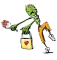 Zombie with flowers and present isolated on white vector image vector image
