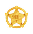 brass five-pointed sheriff star badge in flat vector image