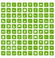 100 children activities icons set grunge green vector image vector image