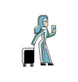 arabic woman with travel bag and ticket in hands vector image vector image