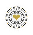 Black and golden hand drawn circle heart sign