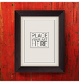 brown wooden frame on red wooden wall vector image vector image