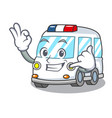 call me ambulance mascot cartoon style vector image