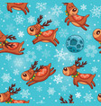 Christmas deers in cartoon seamless pattern vector image vector image
