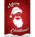 christmas greeting card with santa hat and beard vector image