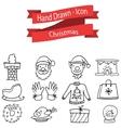 Christmas icon set hand draw vector image vector image
