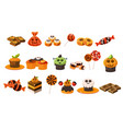 Colorful flat set of various halloween