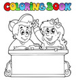 coloring book with two pupils vector image vector image
