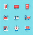 Computer and devices icons icon set in flat design vector image vector image