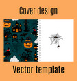 cover design with halloween decorative pattern vector image vector image