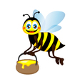 Cute bright funny bee carrying a jar of honey vector image