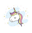 cute unicorn head with horn and hair design vector image
