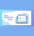 data protection banner open laptop with password vector image