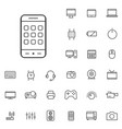 device outline thin flat digital icon set vector image