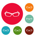 eyeglasses icons circle set vector image vector image