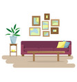 flat with a sofa vector image vector image