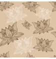 Floral vintage seamless pattern with lotus flowers vector image