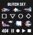 glitch set on black background vector image vector image