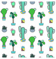 green cactus seamless pattern on white vector image