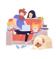 happy family sitting on couch with laptop vector image
