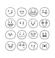 happy hand drawn funny smiley faces sketched vector image vector image