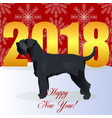 happy new year card with schnauzer vector image vector image